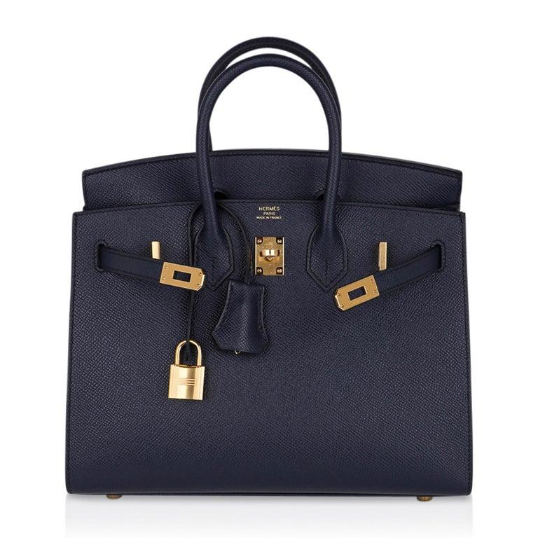 Hermes Birkin Sellier 25 Bag Blue Indigo Gold Hardware Epsom Leather New w/Box 3