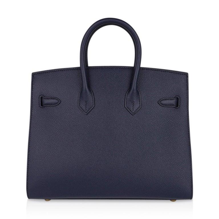 Hermes Birkin Sellier 25 Bag Blue Indigo Gold Hardware Epsom Leather New w/Box 4