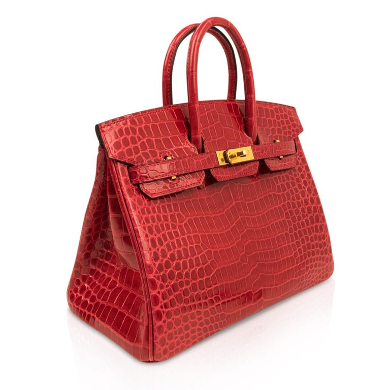 Women's Hermes Birkin 25 Bag Braise Porosus Crocodile Gold Hardware Lipstick Red  For Sale