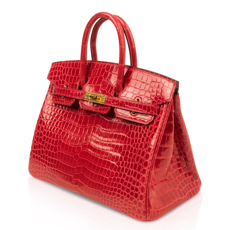 Hermes Birkin 25 Bag Braise Porosus Crocodile Gold Hardware Lipstick Red  For Sale 2