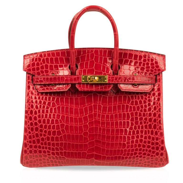 Hermes Birkin 25 Bag Braise Porosus Crocodile Gold Hardware Lipstick Red  For Sale 3