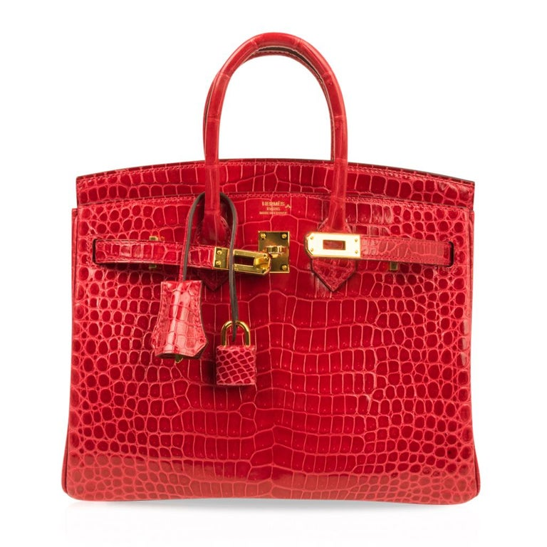Hermes Birkin 25 Bag Braise Porosus Crocodile Gold Hardware Lipstick Red  For Sale 4