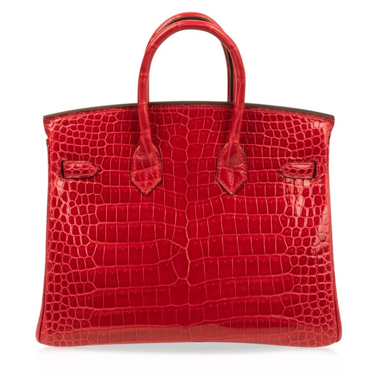 Hermes Birkin 25 Bag Braise Porosus Crocodile Gold Hardware Lipstick Red  For Sale 5