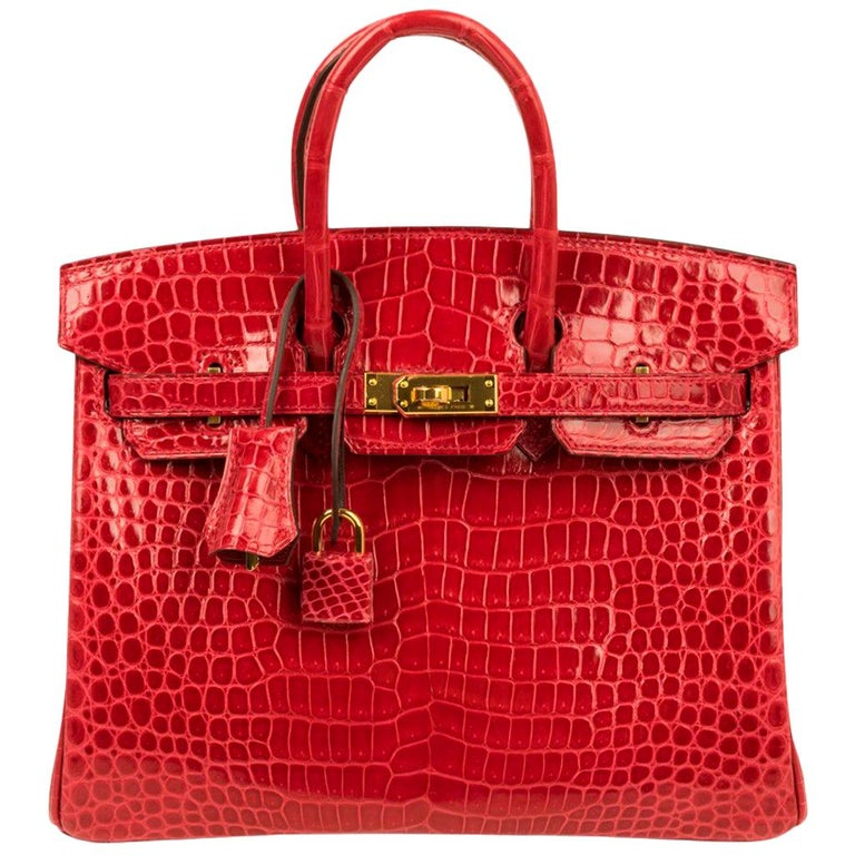 Hermes Birkin 25 Bag Braise Porosus Crocodile Gold Hardware Lipstick Red  For Sale