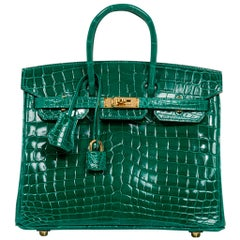 Hermes Birkin 25 Bag Emerald Crocodile Gold Hardware