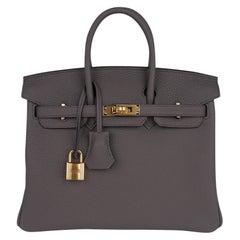 Hermes Birkin 25 Bag Etain Gold Hardware Togo Leather New w/Box