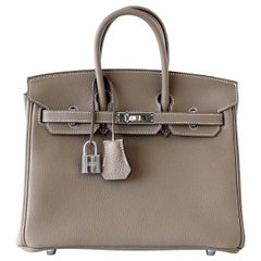 Hermes Birkin 25 Bag Etoupe Neutral Togo Palladium Hardware