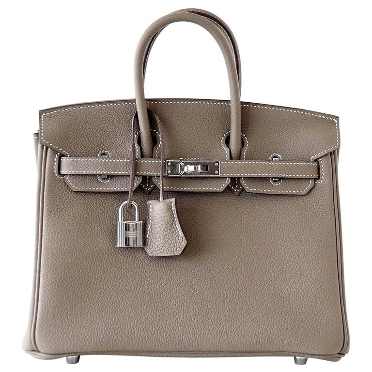 Hermes Birkin 25 Bag Etoupe Neutral Togo Palladium Hardware   For Sale