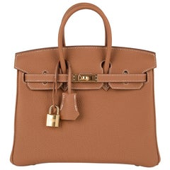 Hermes Birkin 25 Bag Gold Togo Gold Hardware Classic Perfection