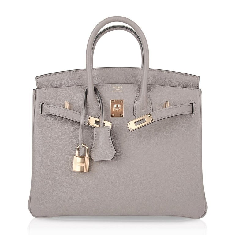 Hermes Birkin 25 Bag Gris Asphalte Novillo Leather Gold Hardware For Sale  at 1stDibs