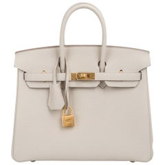Hermes Birkin 25 Bag HSS Beton w/ Rose Poupre Pink Brushed Gold Hardware Togo