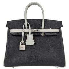 Hermes Birkin 25 Bag HSS Black w/ Gris Perle Chevre Brushed Palladium Hardware
