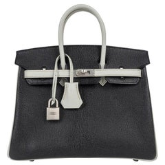 Hermes Birkin 25 Bag HSS Black w/ Gris Perle Chevre Brushed Palladium Hardware