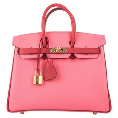 Hermes Birkin 25 Bag HSS Rose Azalee with Rouge Casaque Epsom Gold Hardware