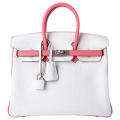 Hermes Birkin 25 Bag HSS White / Rose Azalee Brushed Palladium Clemence