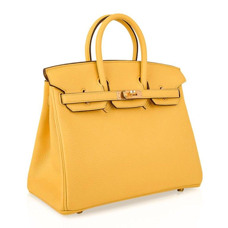 Hermes Birkin 25 Bag Jaune de Naples Novillo Gold Hardware For Sale 1