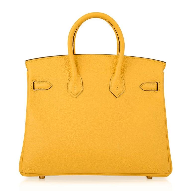 Hermes Birkin 25 Bag Jaune de Naples Novillo Gold Hardware For Sale 5