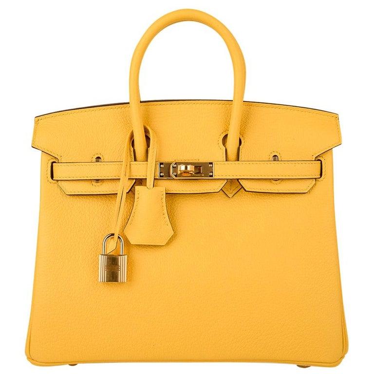 Hermes Birkin 25 Bag Jaune de Naples Novillo Gold Hardware For Sale