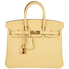 Hermes Birkin 25 Bag Jaune Poussin Gold Hardware Swift Leather