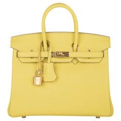 Hermes Birkin 25 Bag Lime Gold Hardware Swift Leather