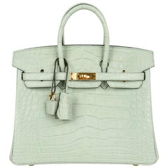 Hermes Birkin 25 Bag Limited Edition Vert D'Eau Matte Alligator Gold Hardware