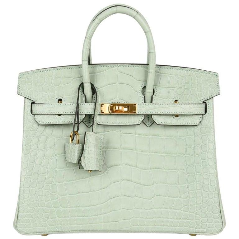 Hermès limited-edition 25cm matte alligator Birkin in Vert d'Eau, 2010s, offered by Mightychic