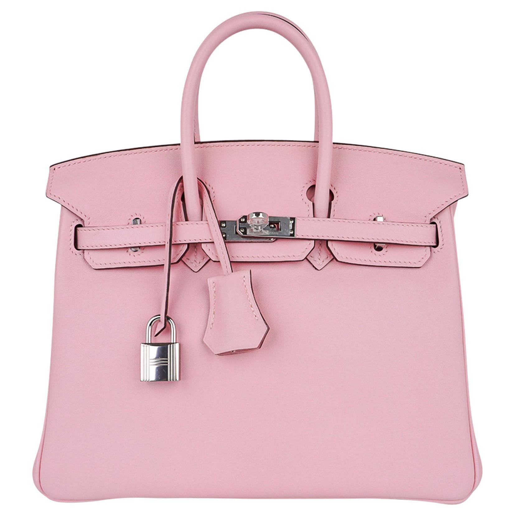 Hermes Birkin 25 Bag Rose Sakura Palladium Hardware Swift Leather Rare