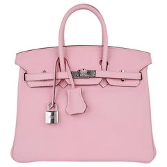 Hermes Birkin 25 Bag Rose Sakura Palladium Hardware Swift Leather Rare
