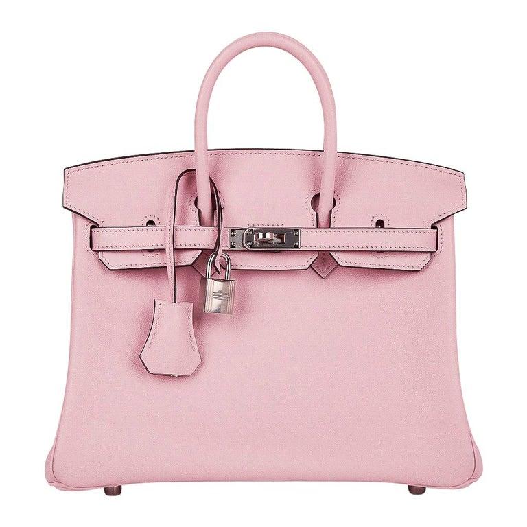 Hermes Birkin 25 Bag Rose Sakura Palladium Hardware Swift Leather Rare For Sale