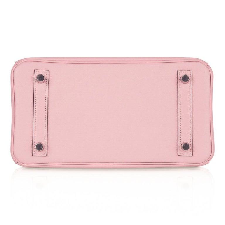Hermes Birkin 25 Bag Rose Sakura Palladium Hardware Swift Leather Rare For Sale 5