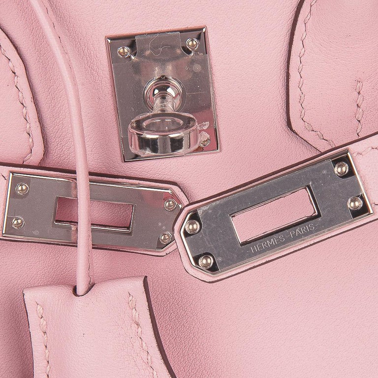 Beige Hermes Birkin 25 Bag Rose Sakura Palladium Hardware Swift Leather Rare For Sale