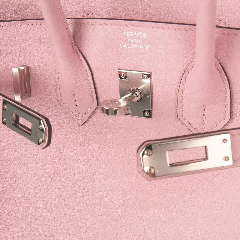 Hermes Birkin 25 Bag Rose Sakura Palladium Hardware Swift Leather Rare In New Condition For Sale In Miami, FL