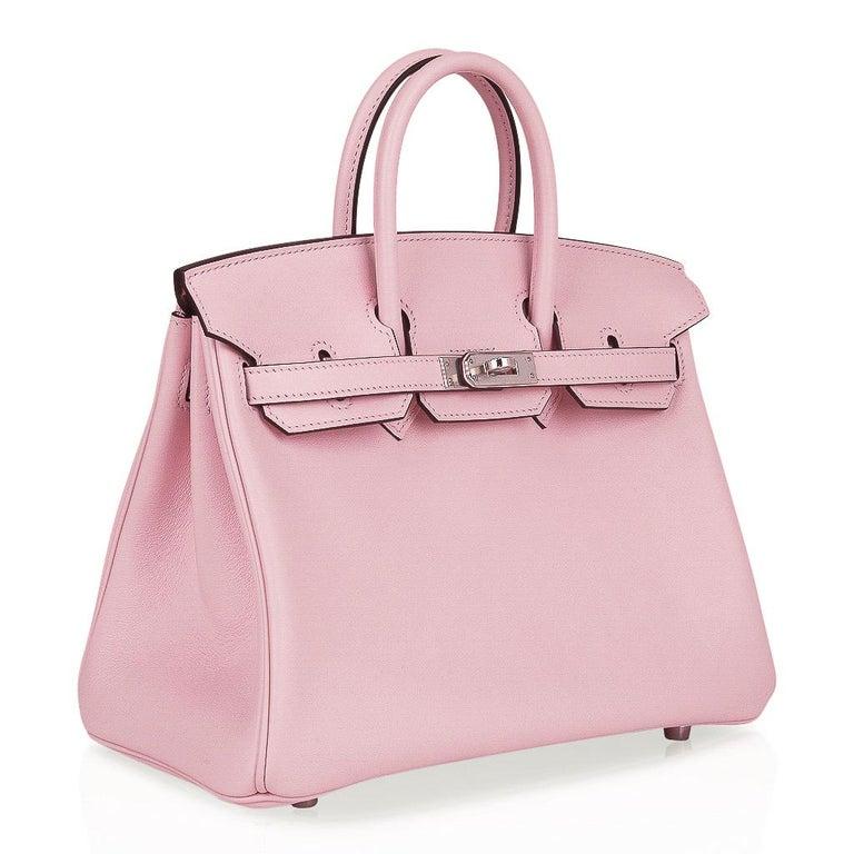 Women's Hermes Birkin 25 Bag Rose Sakura Palladium Hardware Swift Leather Rare For Sale
