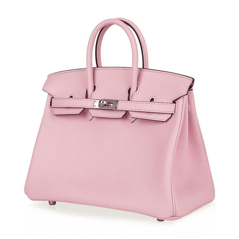 Hermes Birkin 25 Bag Rose Sakura Palladium Hardware Swift Leather Rare For Sale 2