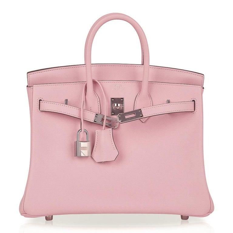 Hermes Birkin 25 Bag Rose Sakura Palladium Hardware Swift Leather Rare For Sale 3