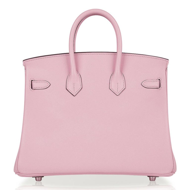 Hermes Birkin 25 Bag Rose Sakura Palladium Hardware Swift Leather Rare For Sale 4