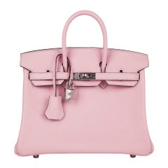 Hermes Birkin 25 Bag Rose Sakura Swift Palladium Hardware Rare