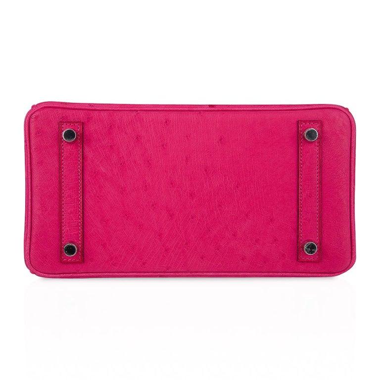 Hermes Birkin 25 Bag Rose Tyrien Ostrich Palladium Hardware  For Sale 5