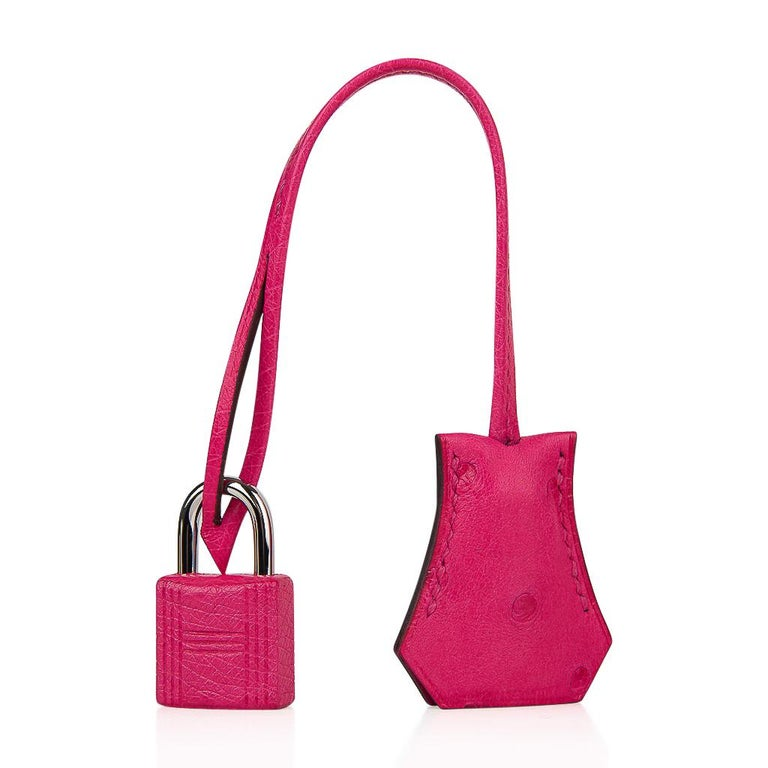 Guaranteed authentic Hermes Birkin 25 bag featured in vibrant Rose Tyrien Ostrich. This vibrant jewel toned color is divine with a myriad of selections from any wardrobe. Accentuated with palladium hardware. NEW or NEVER WORN   Comes with the lock