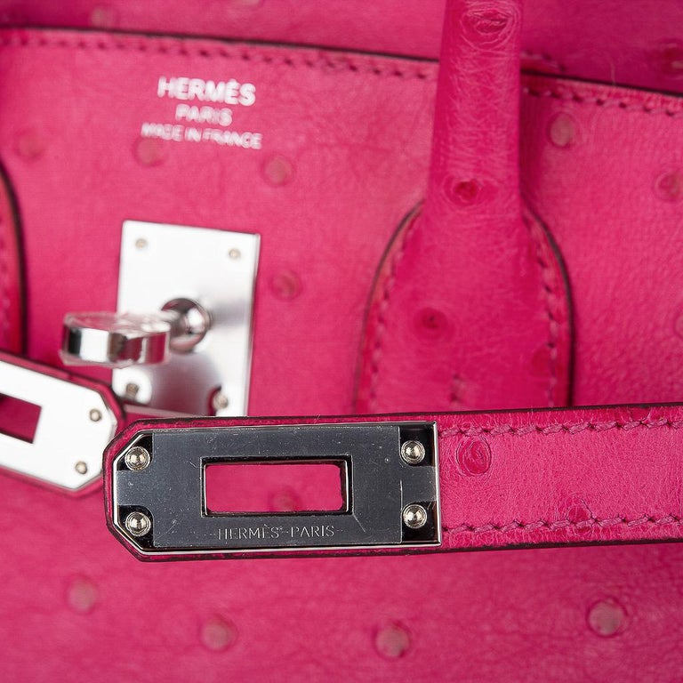 Red Hermes Birkin 25 Bag Rose Tyrien Ostrich Palladium Hardware  For Sale