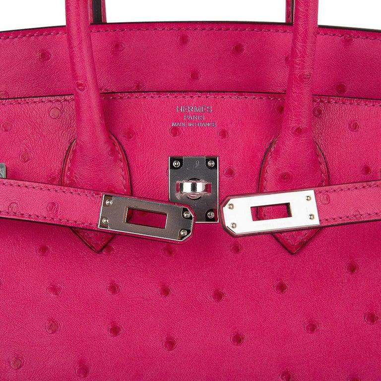 Hermes Birkin 25 Bag Rose Tyrien Ostrich Palladium Hardware  In New Condition For Sale In Miami, FL