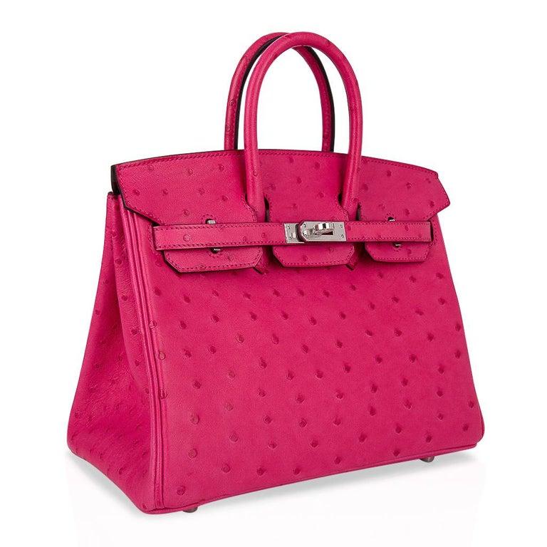 Women's Hermes Birkin 25 Bag Rose Tyrien Ostrich Palladium Hardware  For Sale