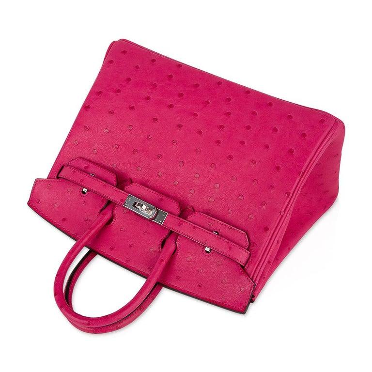 Hermes Birkin 25 Bag Rose Tyrien Ostrich Palladium Hardware  For Sale 1