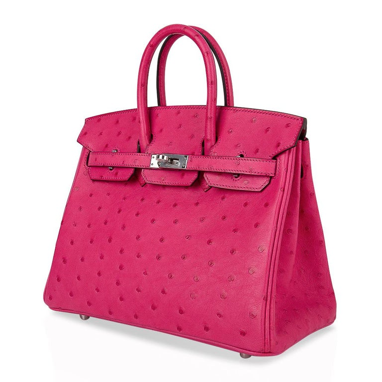 Hermes Birkin 25 Bag Rose Tyrien Ostrich Palladium Hardware  For Sale 2