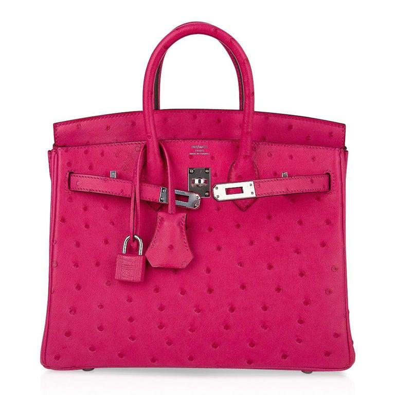 Hermes Birkin 25 Bag Rose Tyrien Ostrich Palladium Hardware  For Sale 3