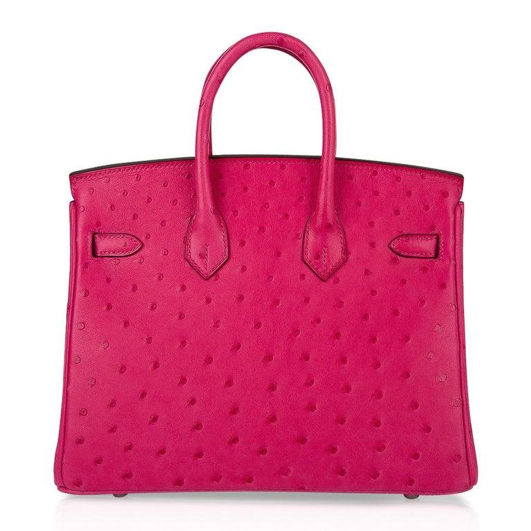 Hermes Birkin 25 Bag Rose Tyrien Ostrich Palladium Hardware  For Sale 4