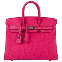 Hermes Birkin 25 Bag Rose Tyrien Ostrich Palladium Hardware