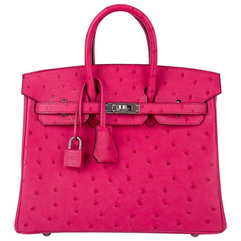 Hermes Birkin 25 Bag Rose Tyrien Ostrich Palladium Hardware  For Sale