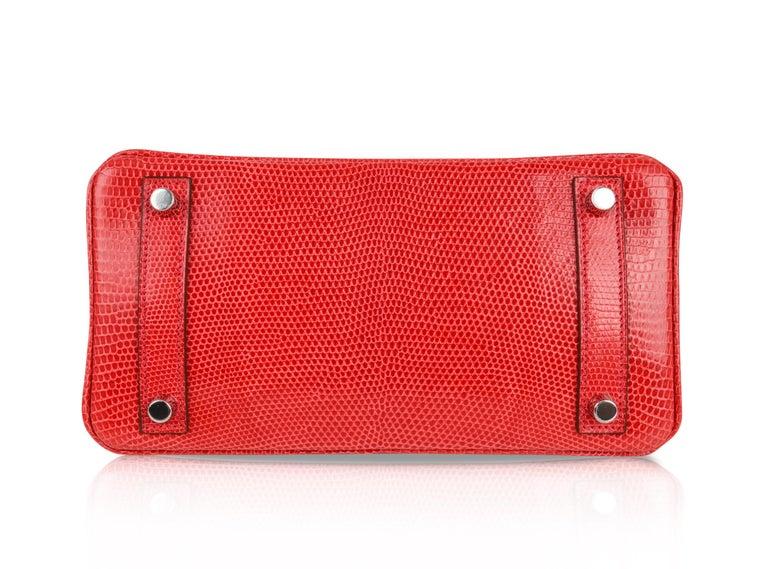 Hermes Birkin 25 Bag Rouge Exotic Lizard Palladium Hardware For Sale 5
