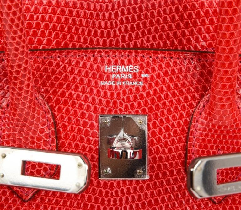 Red Hermes Birkin 25 Bag Rouge Exotic Lizard Palladium Hardware For Sale